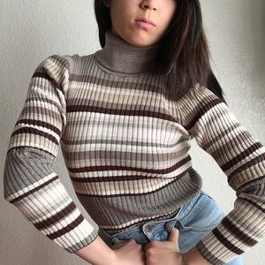 Earthy Ribbed Striped Turtleneck Sweater